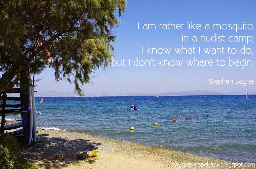 Jestem jak komar na plaży nudystów – wiem co chcę zrobić, ale nie wiem od czego zacząć.